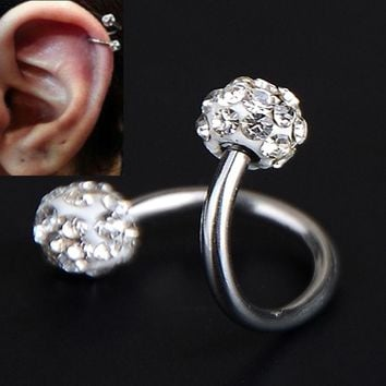 1 PC Stainless Steel Ear Piercing Crystal Twist Spiral Tragus Helix Cartilage Stud Earrings Piercing Body Jewelry