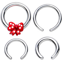 16 Gauge and 14 Gauge Spotted Red Bow Interchangeable BCR Set | Body Candy Body Jewelry