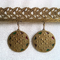 Brass sun earrings/ vintage round earrings/ gold tone enamal mandala earrings/ bohemian boho hippie metal earrings