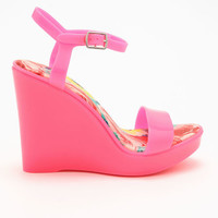 PINK JELLY ANKLE STRAP WEDGES