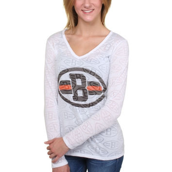 Cleveland Browns Women's Sublime Burnout V-Neck Long Sleeve T-Shirt – White