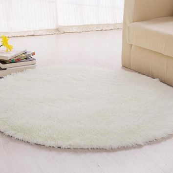 1/1.2/1.4/1.6m Circular Fluffy Rugs Pure Color Polyester Anti-Skid Shaggy Area Rug Carpet Round Floor Mat for Home Bedroom