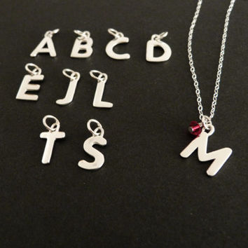 Personalized Big Initial Birthstone Necklace in Sterling Silver