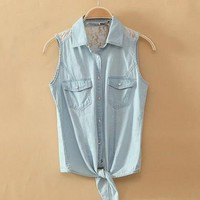 Light Blue Denim Button-Up Shirt With Lace from Charmaco