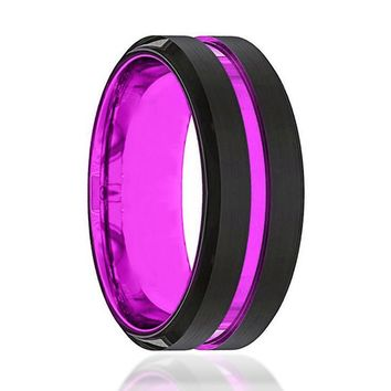 Black And Purple Tungsten - Mens Wedding Band - Tungsten Ring - Passionate Purple - Beveled Edge - Tungsten Wedding Band