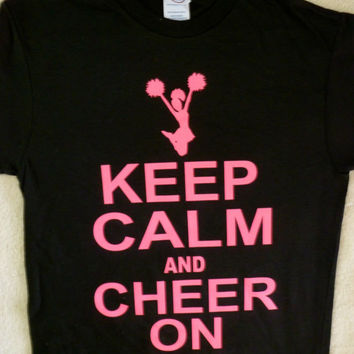 KEEP CALM AND CHEER ON~KIDS CHEERLEADERS T-SHIRT , SMALL 6-8, M 10-12,L 14-16