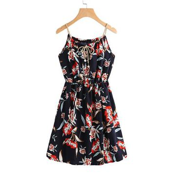 Women Dress Summer  Navy Sleeveless A Line Dress Spaghetti Strap Floral Print  Dress