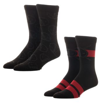 Marvel Deadpool Crew Socks - Mercenary Suit Up Design & Anti-Hero Insignia (Set of 2 Pairs)