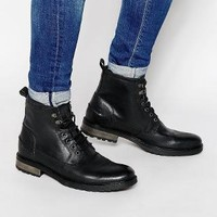 ASOS | ASOS Workboots in Black Leather at ASOS