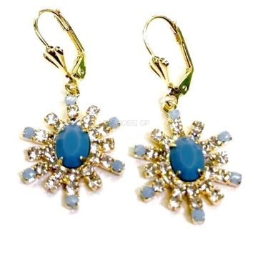 Turquoise Cz 18kts Gold Plated Earrings
