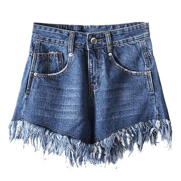 Dark Blue High Waist Raw Edge Hem Washed Denim Shorts