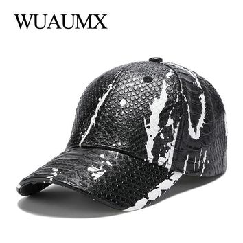 Trendy Winter Jacket Wuaumx NEW PU Snake Leather Baseball Caps For Men Women Casual Brand Faux Leather Snapback Cap Curved Peak Hip Hop Hat  AT_92_12