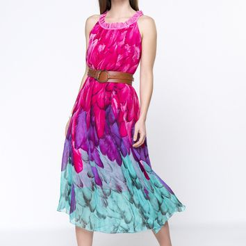 Charming Ruffle Trim Round Neck Printed Chiffon Maxi Dress
