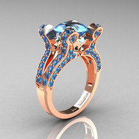 Aphrodite - French Vintage 14K Rose Gold 3.0 CT Blue Topaz Pisces Wedding Ring Engagement Ring Y228-14KRGBT