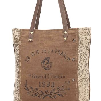 Myra Bag 1933 Up-cycled Canvas Tote S-0936