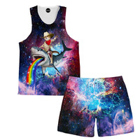 Cowboy Cat Tank and Shorts Rave Outfit
