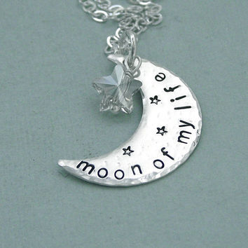 Moon of My Life   Hand Stamped Sterling Silver by MadamePoindextra