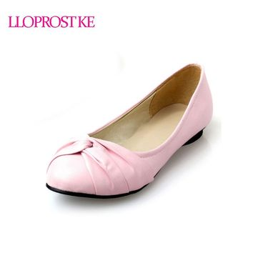 LLOPROST KE Women Fashion Shoes Woman Flats Spring Shoes Large Size 43 Female Ballet Shoes Metal Round Toe Casual Shoes GL038