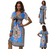 Sexy Summer WOMEN BOHEMIAN MAXI DRESS Paisley Print V neck Boho Hippie sundress