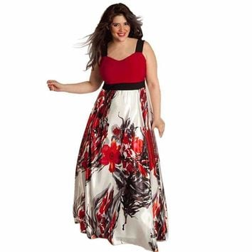 Womens Floral Printed Long Evening Party Gown Formal Dress Jupe