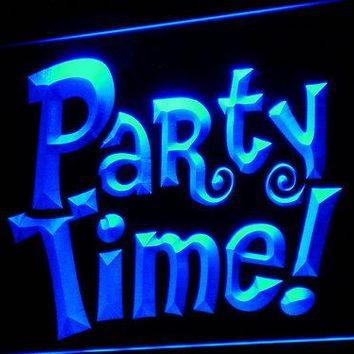 i749 Party Time Beer Bar Pub Club LED Neon Light Sign On/Off Switch 7 Colors 4 Sizes