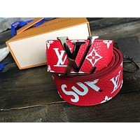 Louis Vuitton X Supreme Classic Popular Women Men Smooth Buckle Red Monogram Print Leather Belt I/A