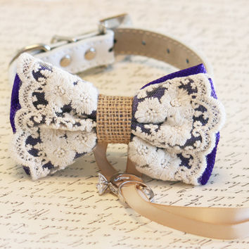Purple Dog Bow Tie, Lace and Burlap, Dog ring bearer, Pet Wedding accessory, Vintage wedding, Rustic, Bohemian