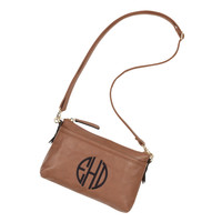 Camel Brown Leather Like Crossbody-Available Blank or Personalized!