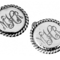 Monogrammed Round Rope Earrings on Wire