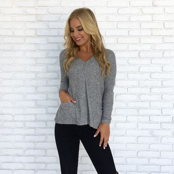 Cozy Cute Sweater Top in Grey