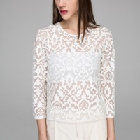 Carved long sleeves top