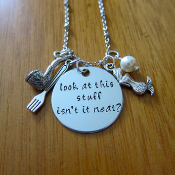 "Ariel Inspired Little Mermaid Necklace. ""Look at this stuff isn't it neat?"". Hand Stamped. Swarovski Pearl. FREE shipping."