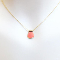Salmon pink, Enamel, Gold, Necklace, Modern, Dainty, Minimal, Necklace, Lover, Friends, Sister, Gift, Accessories, Jewelry