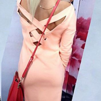 Pink Cutout Cross-Back Long Sleeve Dress
