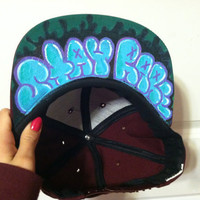 Maroon Snap Back with Graffiti by StayRare on Etsy