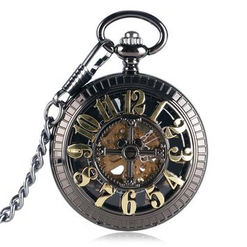 Vintage Skeleton Elegant Pocket Watch Steampunk Automatic Mechanical Black Fob Clock Chain Men Women Gift for Christmas P2051C