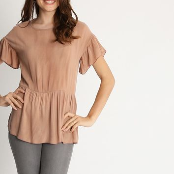 Mauve Lips Peplum Top | Ruche