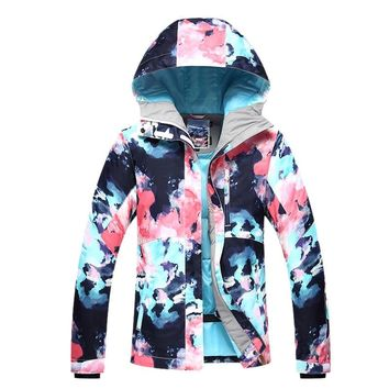 GSOU SNOW Ski Jacket Women Skiing Suit Winter Waterproof Cheap Ski Suit Outdoor Camping Female Coat Snowboard Clothing Camo