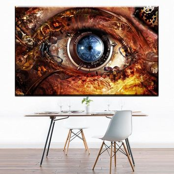 ZZ1630  Canvas Printed Steampunk Eye Painting For Living Room Picture Wall Art HD Print Decor Modern Artworks Abstract Poster