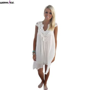 Womdee 2017 Sexy summer dress women Sleeveless loose Mini Boho Dresses female Hollow Out White tunic lace Beach Dress plus Size