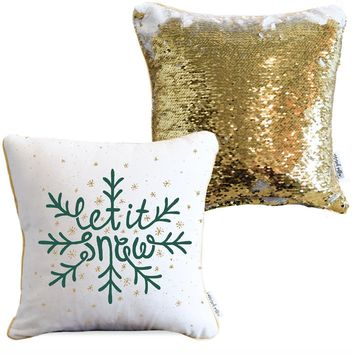LET IT SNOW Holiday Pillow with White & Gold Reversible Sequins | COVER ONLY (Inserts Sold Separately)