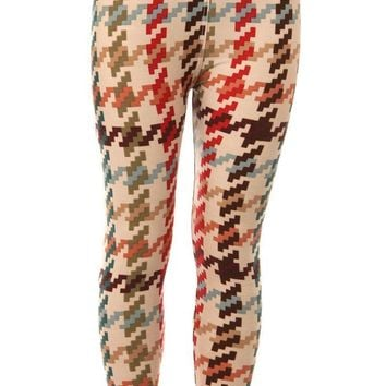 Kid's Colorful Houndstooth Pattern Printed Leggings