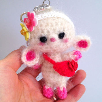 Cell Phone Accessory Cell phone Dust Plug Amigurumi Bag Charm Amigurumi Lamb Crochet Lamb Key Chain Headphone Jack Dust Plug Kawaii Gift