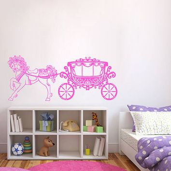 kik393 Wall Decal Sticker Room Decor Wall Art Mural horse carriage cinderella princess fairytale magic children's bedroom