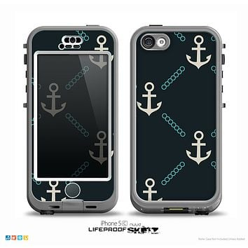 The Blue & Teal Vintage Solid Color Anchor Linked Skin for the iPhone 5c nüüd LifeProof Case