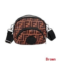 FENDI Fashionable Women Double F Letter Canvas Purse Waist Bag Shoulder Bag Crossbody Satchel Brown