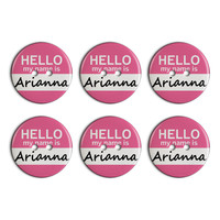 Arianna Hello My Name Is Plastic Resin Button Set of 6