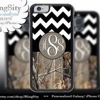 Monogram iPhone 5C 6 6 Plus Case iPhone 5s iPhone 4 case Ipod 4 5 Touch case Tree Camo Black Fat Chevron Zig Zag  Personalized