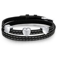 Leather and Stainless Steel Hearts Double Wrap Belt Buckle Bracelet