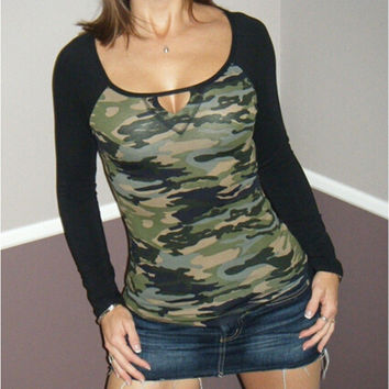 Keyhole Long Sleeve Camouflage Top